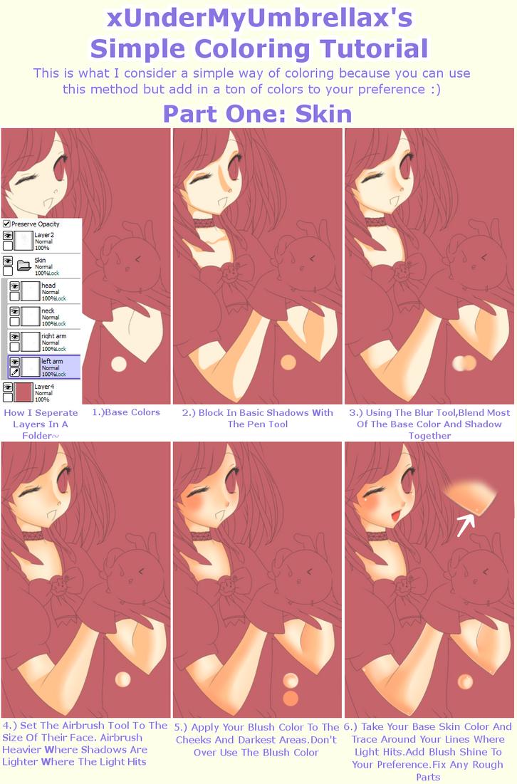 Simple Coloring Tutorial Part 1:Skin by xUnderMyUmbrellax