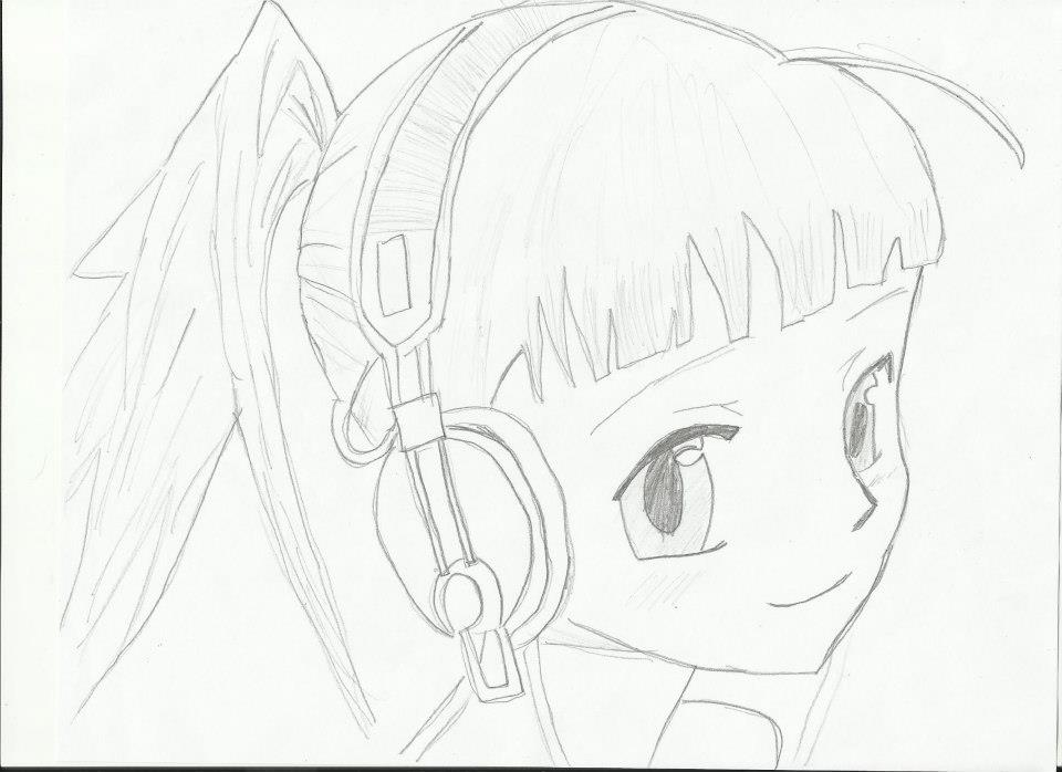 Headphone anime girl drawing by creepez