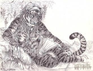 Reclining Tigress [Commish] by Heyriel
