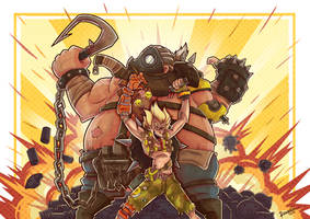 Junkrat and Roadhog by ChaosRaymond