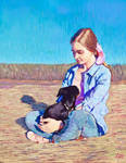 A girl with a dog. Early in the morning.