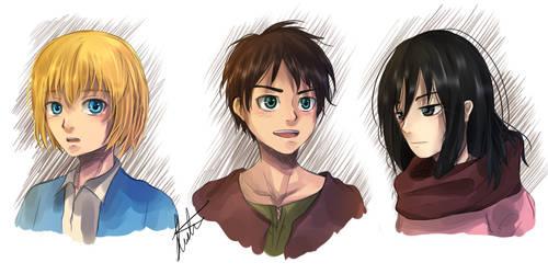 Young Eren Mikasa Armin by kavi-ar