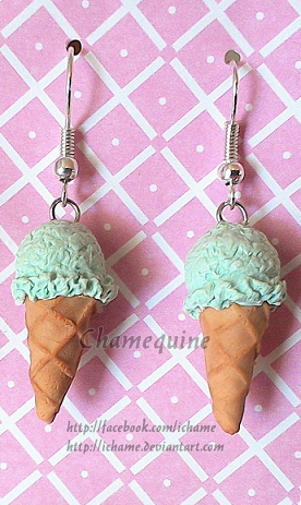 Polymer Clay: Mint Ice Cream Earrings by iChame
