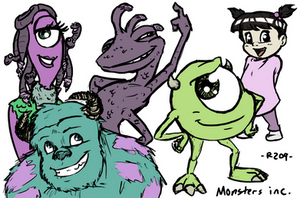 Monsters Inc. Characters by R2ninjaturtle
