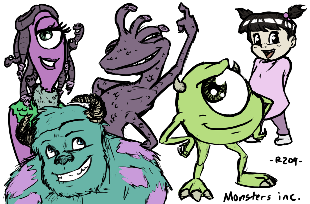 Monsters Inc  Characters by R2ninjaturtle on DeviantArt