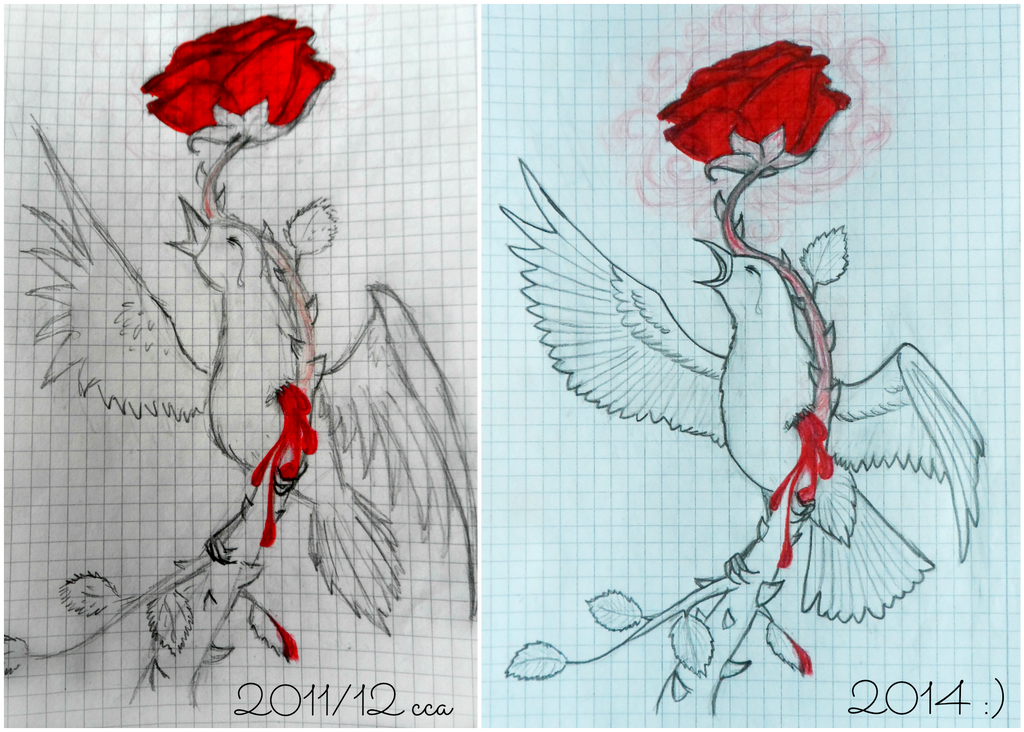 Nightingale and the Rose (before and after) by Chukapix