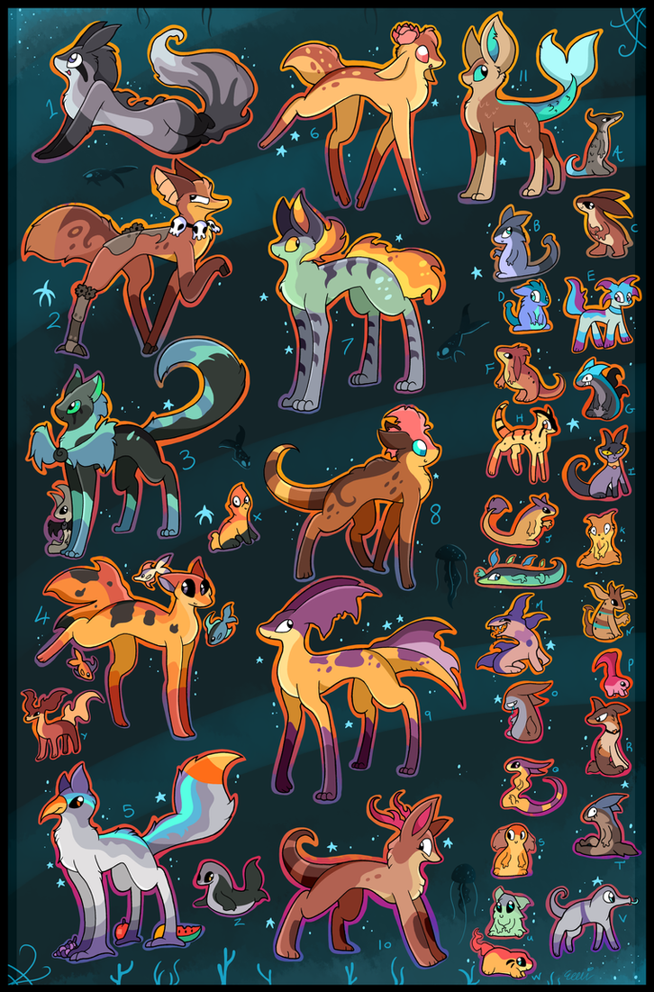 37 FREE creature adoptables CLOSED by Roxalew