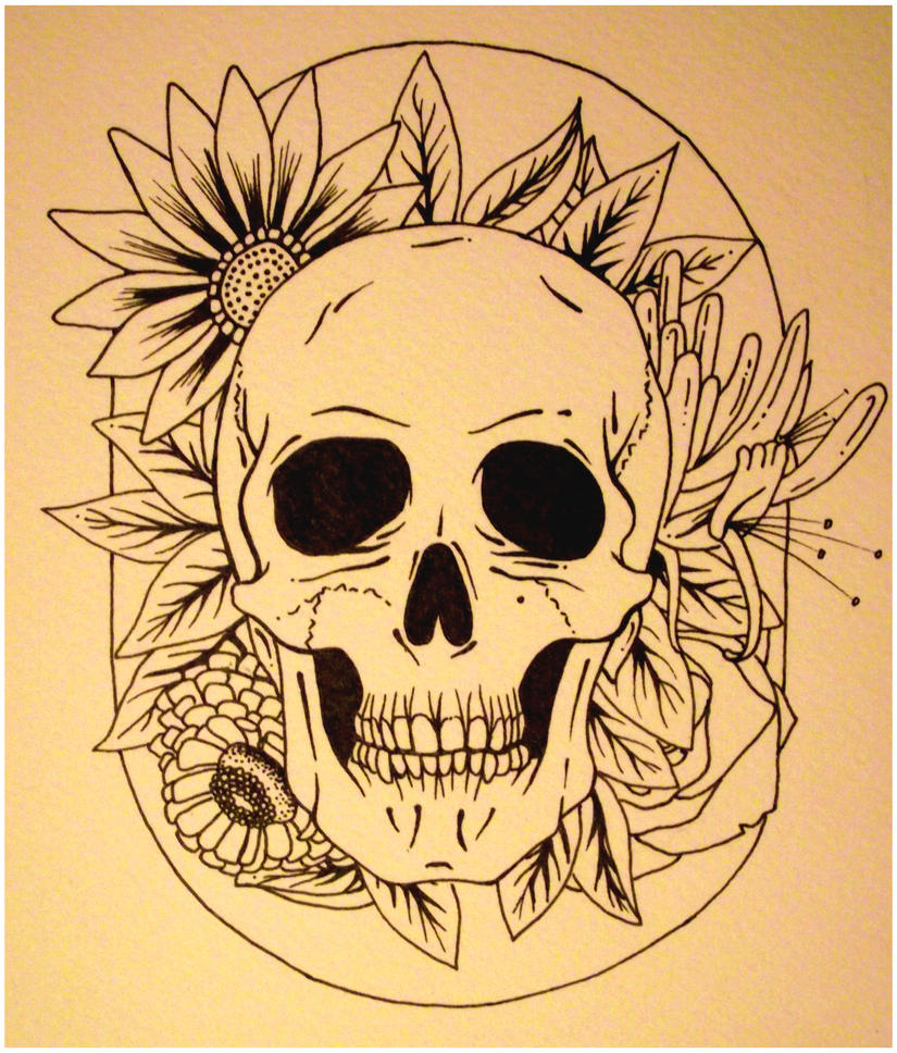 Skull and flowers tattoo by happy smiley robot on deviantart for Skull and flowers tattoos