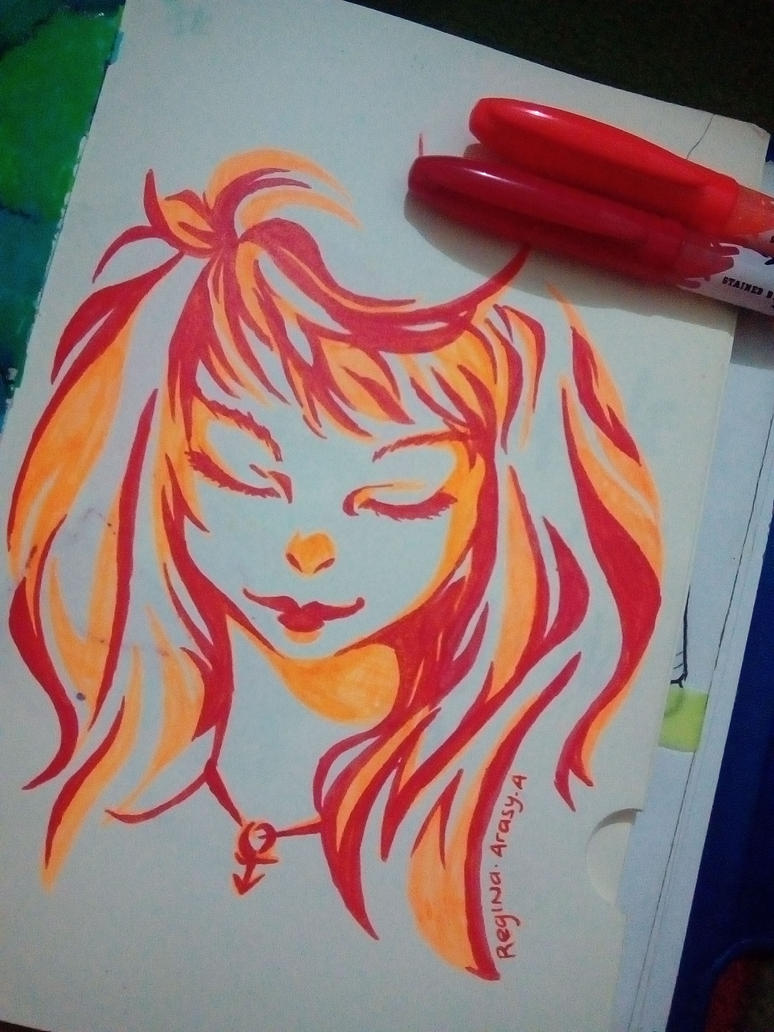 Sketch 2 color chalenge :'v by BlueStarCat