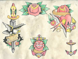 Rose and Anchors Sailor Jerry Flash repro