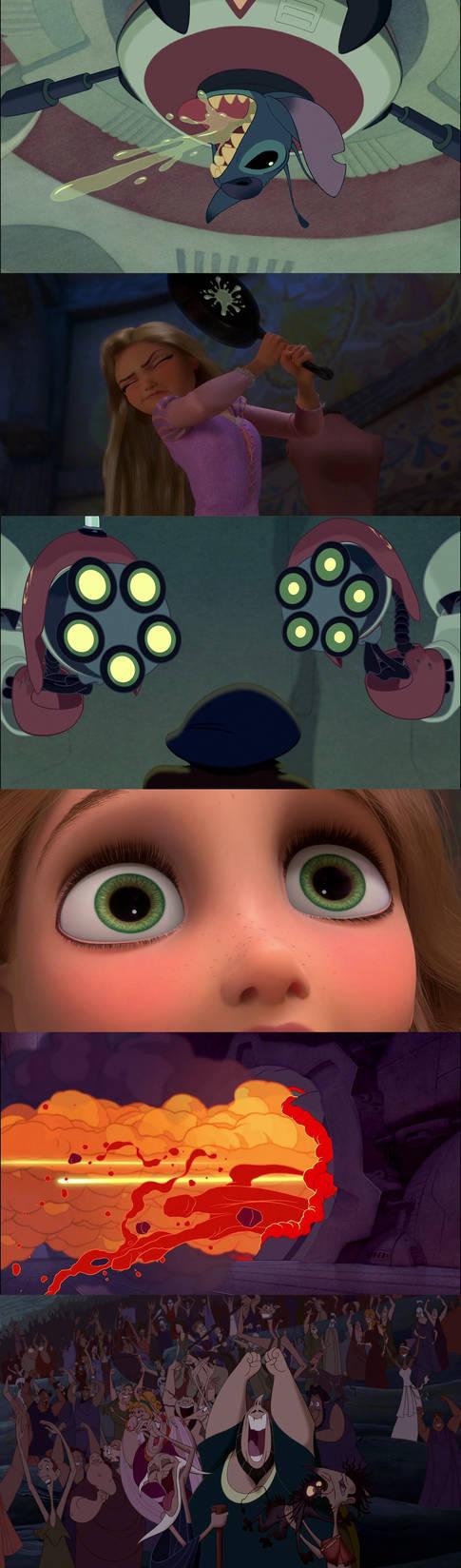 Stitch Blows Up Rapunzel