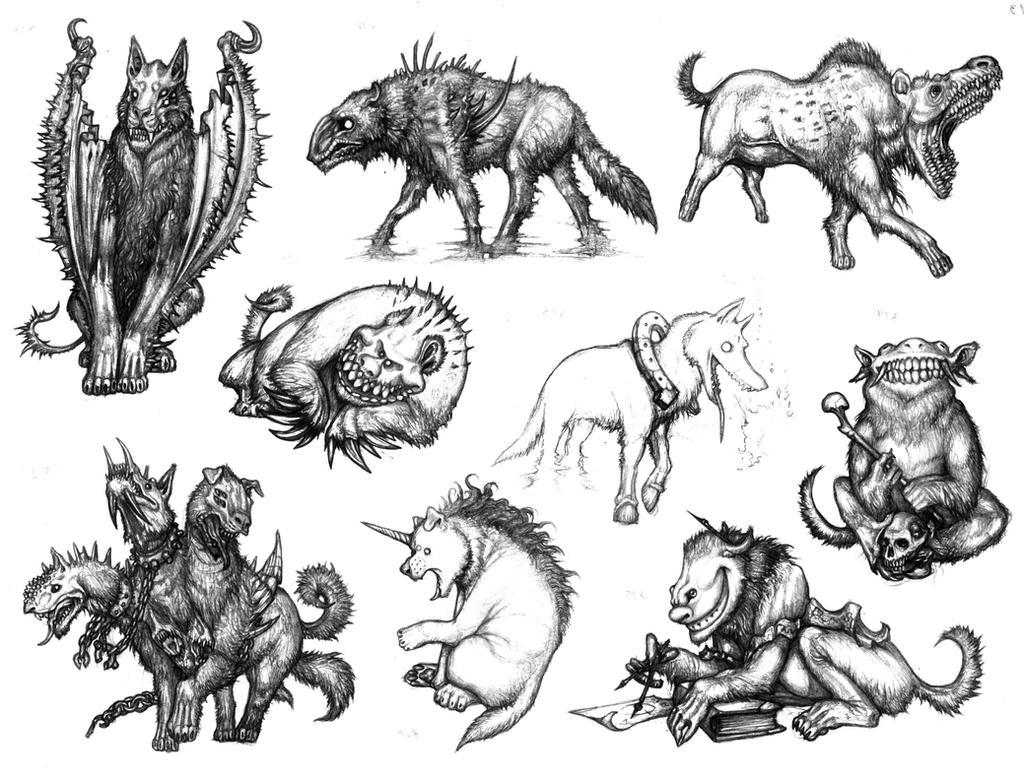 WAM BAM ZAM ZAM (Zambie's Characters) Spectral_dogs_and_hyenas_by_IRIRIV