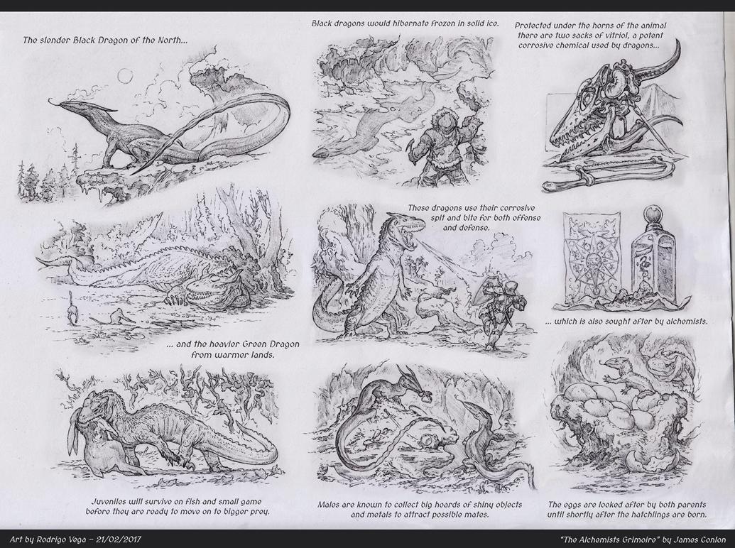 Green and Black Dragons, The Alchemists Grimoire by Rodrigo-Vega