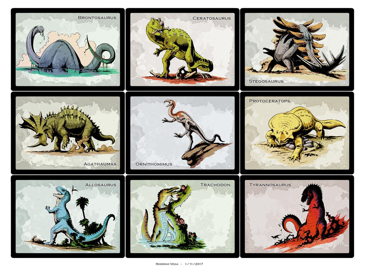 Retro Dino Cards