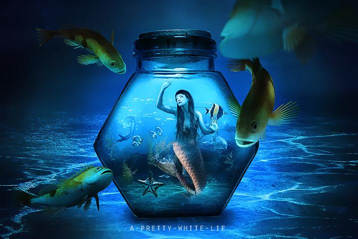 Aquarium by a pretty white lie on deviantart for Mermaid fish tank
