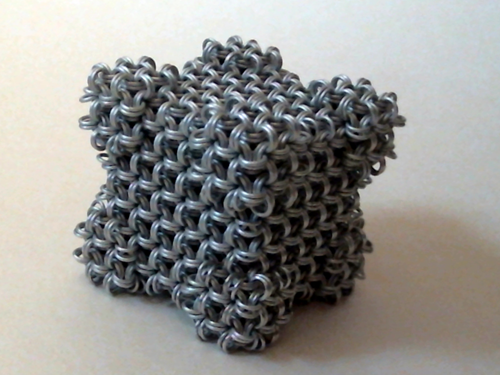 Aluminum Chainmaille Cube by SkepticRaven