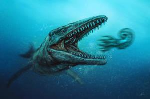 Hunting Mosasaurus hobetsuensis by MALvit