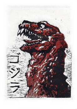 Godzilla 1954 (linocut)