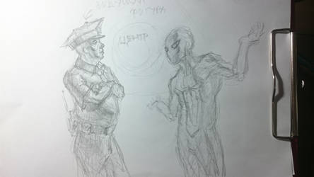 Spider-Man WOD sketch - Spidey and the officer