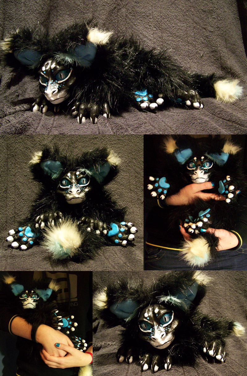 Black, Dragon-Fox-Cat doll by Isvoc