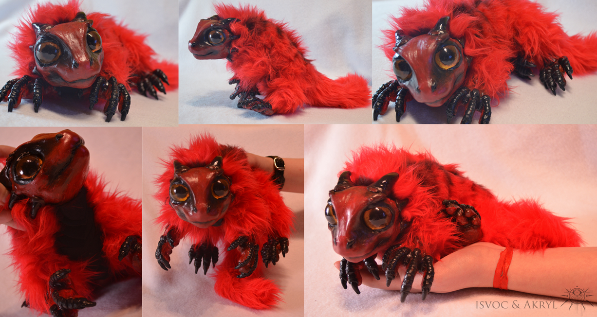 Red Newborn Salamander Drake Doll by Isvoc