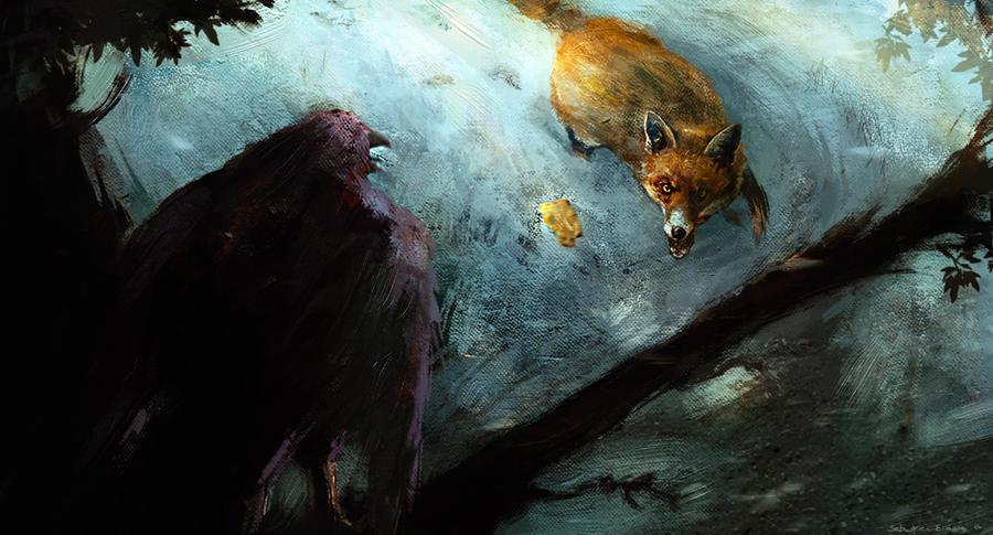 The Crow And The Fox, Le Corbeau et le Renard by Sebastien-Ecosse
