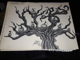 pumpkin tree inktober 13 by somechick73