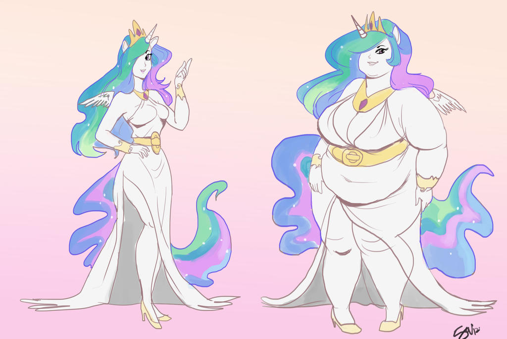 Fat Princess Celestia Commission by TheAmericanDream