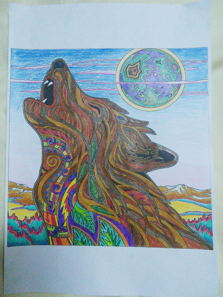 Colouring book, howling wolf by ALCHEMlST