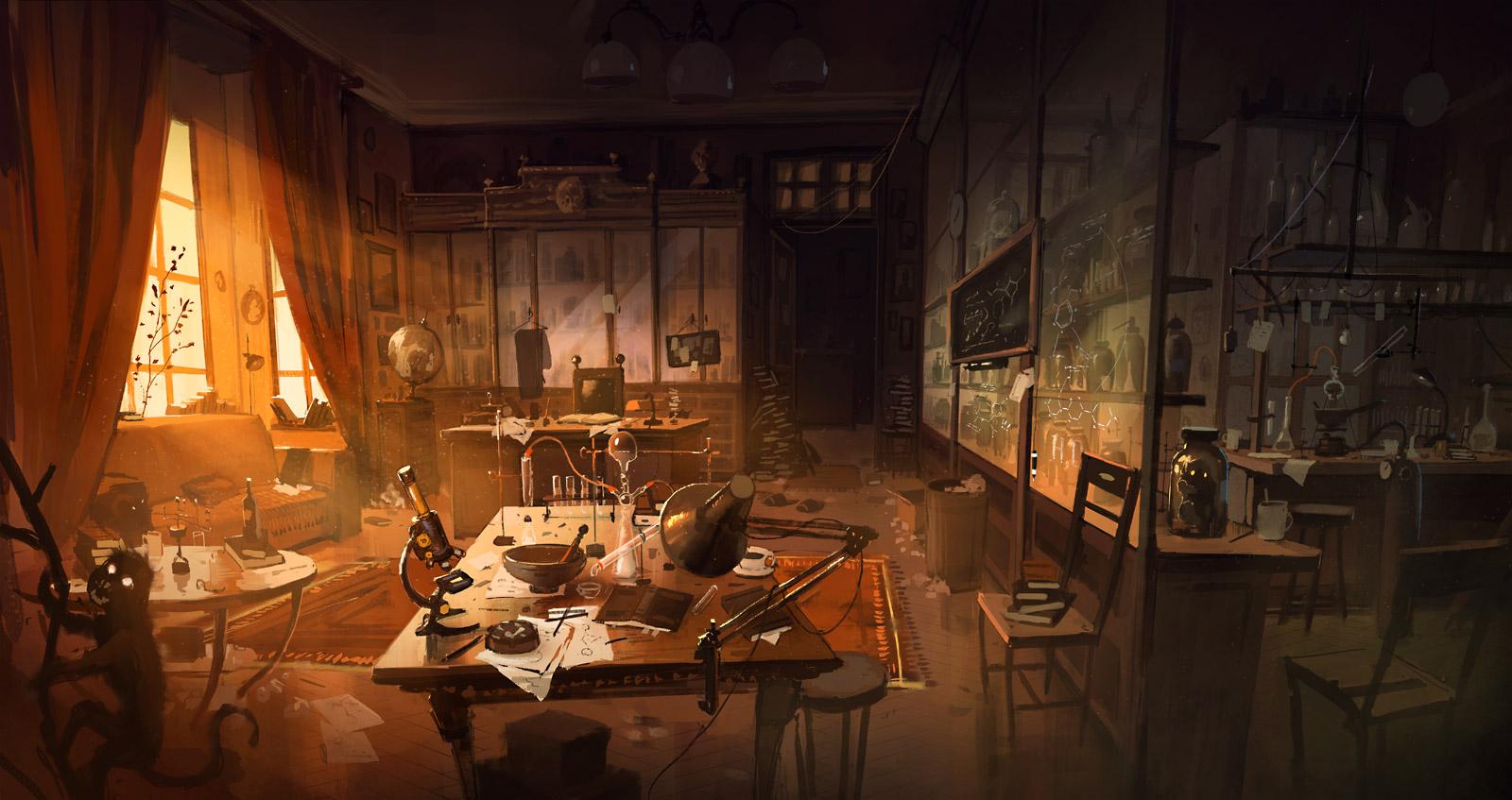 Café Atom [Pv Atom] Study_with_a_laboratory_by_kinnas-d6l81w2