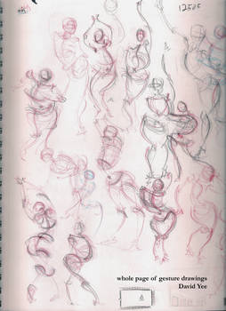 whole page of gesture drawings