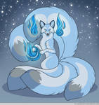 Kitsune of Blue Flame by FlannMoriath