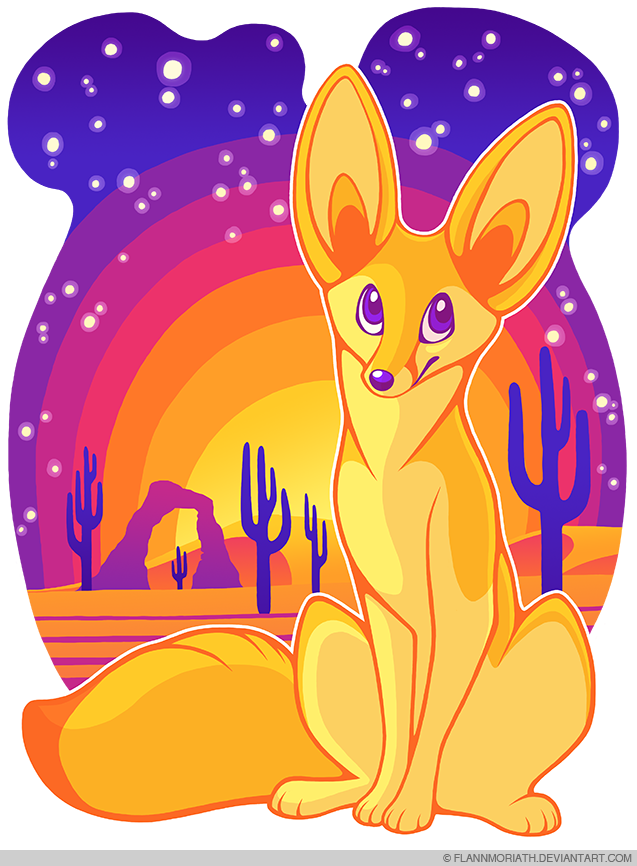 Fennec fox in the desert by flannmoriath on deviantart - Pagina da colorare fennec fox ...