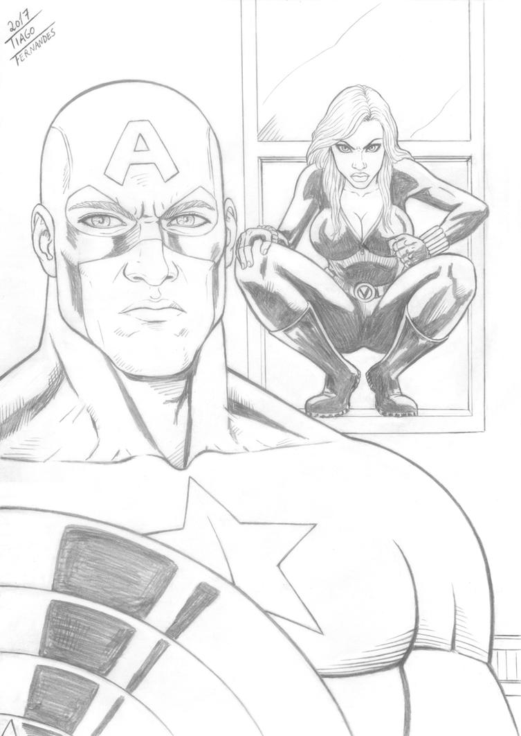 CAPTAIN AMERICA and BLACK WIDOW by TIAGO-FERNANDES
