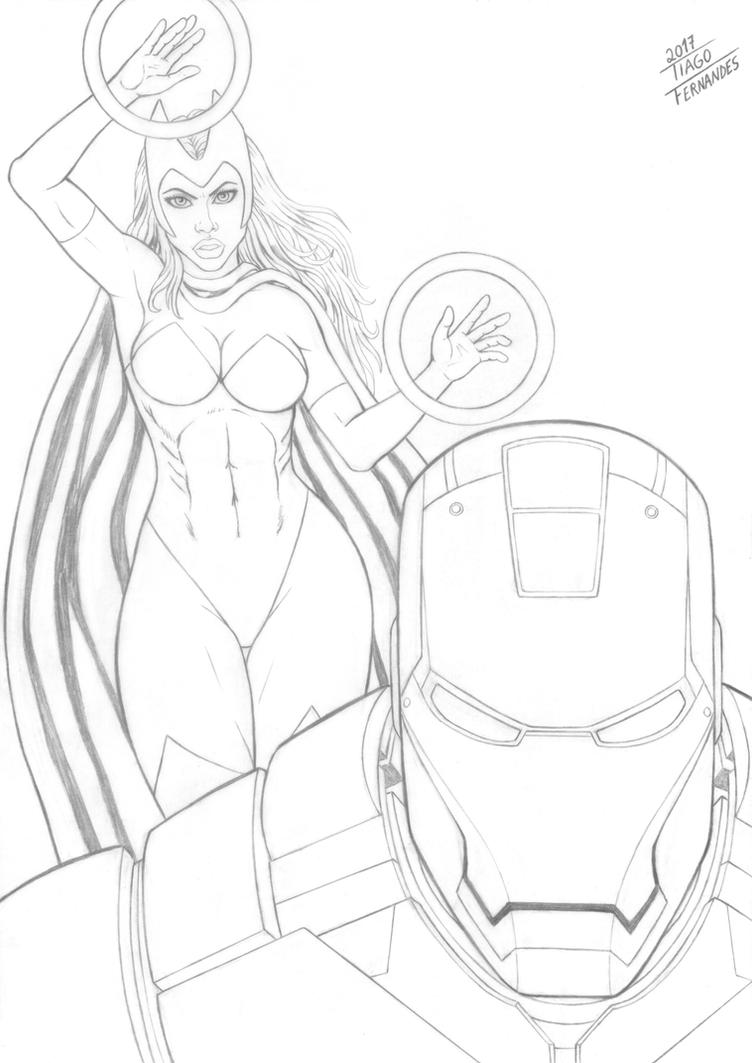 IRON MAN and SCARLET WITCH by TIAGO-FERNANDES