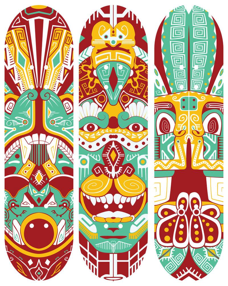 Skateboard deck designs by nimirofox on deviantart for Best paint for skateboard decks
