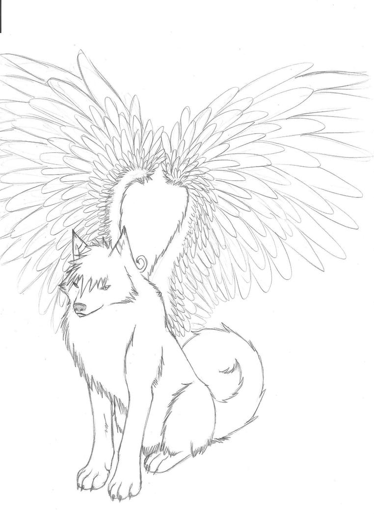 Female Winged Wolf Coloring Pages