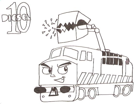 thomas diesel 10 train coloring pages sketch coloring page