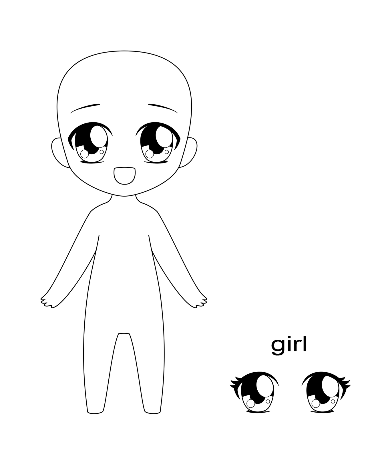 Chibi Human Base With Eyes For Ms Paint