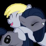 Derpy Hugging Minkie Pie