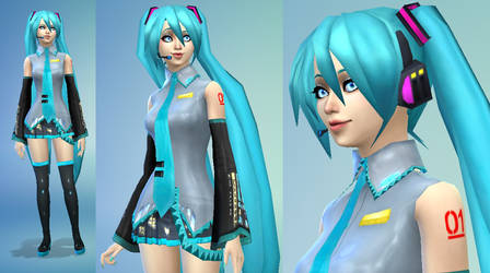 TS4 Modified Hatsune Miku CC Download by Reitanna-Seishin