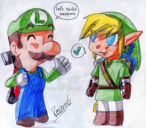 Luigi and link 1 by reversh