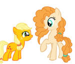 Applejack (Filly) and Pear Butter