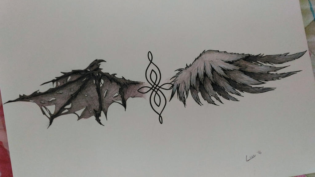45de9087a30a7 angel and demon wings - tattoo by Lion979 on DeviantArt