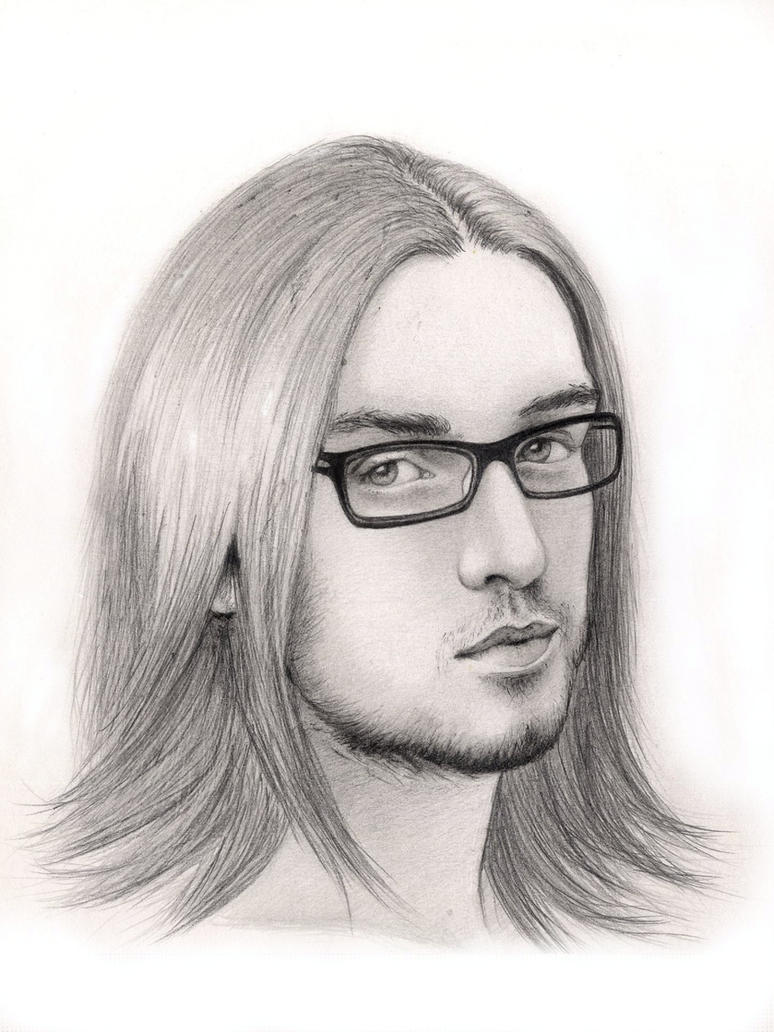 Handsome young man wearing glasses by Adelmort