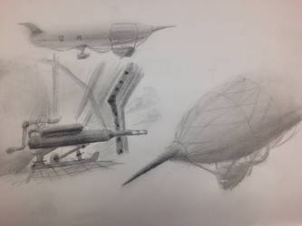 Combat blimp concept art by wakato