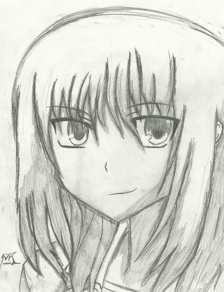 Masami angel beats pencil drawing scan by 717thartist