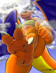 Charizard stomps in color