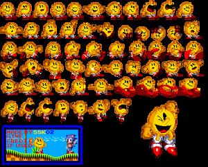 Pac-Man (wearing Sonic Shoes) sprite sheet