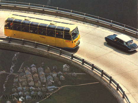 Flying Citroen DS and bus